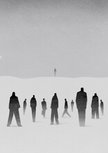 A Crowd And One Man On The Horizon. Society Concept. Black Silhoettes On White Background.