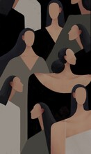 Different Woman Abstract Background. Society Feminism Concept.