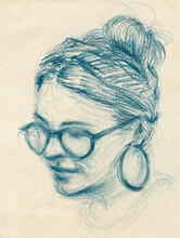 Young Girl Portrait Drawing
