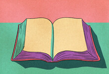 Open Book Vintage Illustration