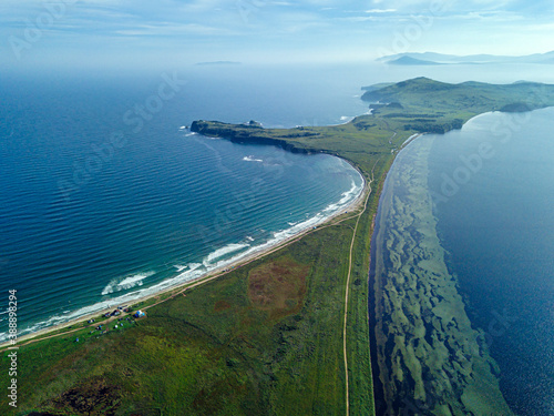 Aerial view of Novgorod Bay and coastline of Krabbe Peninsula