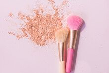 Make Up Brushes With Powder On...