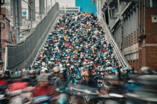 Motorcycles Go Down The Taipei...