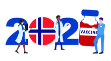 2021 Year. Covid-19 Vaccine With Norway Flag And Doctors On White Background. Greeting Card On The Theme Of Fighting The COVID-19 Epidemic With The Hope Of Receiving A Vaccine By 2021
