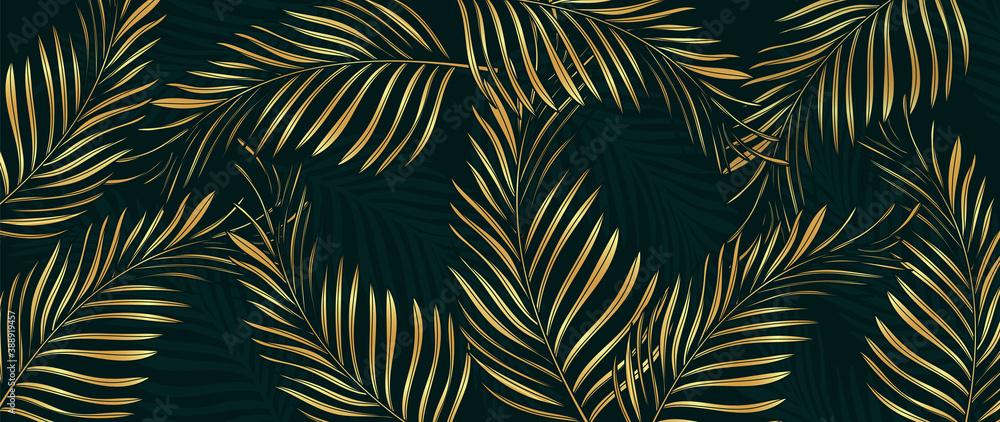 Fototapeta Luxury Gold palm leaves wallpaper. Tropical leaf background design for wall arts, prints,fabric, pattern and cover. vector illustration.