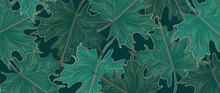Luxury Gole Autumn Background Vector. Autumn Seasonal Wall Paper Design With Oak Leaf, Vine Maple And Golden Texture. Vector Illustration.