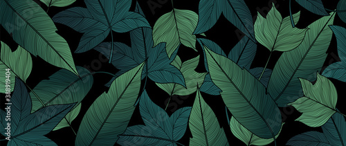 Fotografie, Obraz Panorama Fall Autumn Green  Leaves Background vector