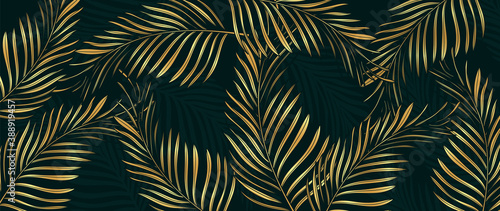 Obraz Luxury Gold palm leaves wallpaper. Tropical leaf background design for wall arts, prints,fabric, pattern and cover. vector illustration. - fototapety do salonu