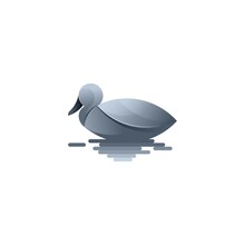 Duck With Water Silver Color Duck Design Vector Sillhouette