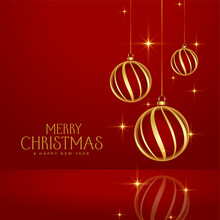 Shiny Red Merry Christmas Golden Baubles Background