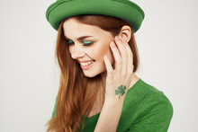 Happy Woman In Green Clothes I...