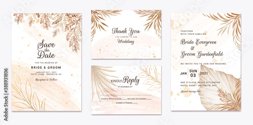 Fototapeta Wedding invitation template set with brown and peach dried floral and leaves decoration. Botanic card design concept obraz