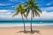 Tropical sunny beach with coco palms and the turquoise sea on Caribbean island.