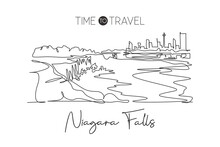 Single Continuous Line Drawing Of Niagara Falls Skyline, Canada. Famous Nature Landscape Home Decor Art Poster Print. World Travel Destination Concept. Modern One Line Draw Design Vector Illustration