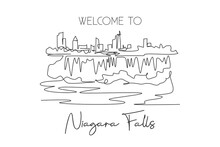One Continuous Line Drawing Niagara Falls Skyline, Canada. Beautiful Nature Landmark Postcard Art. World Landscape Tourism Travel Vacation. Editable Stroke Single Line Draw Design Vector Illustration