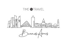 One Continuous Line Drawing Of Buenos Aires City Skyline Argentina. Beautiful Landmark. World Landscape Tourism And Travel Vacation. Editable Stylish Stroke Single Line Draw Design Vector Illustration