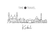 One Single Line Drawing Of Kabul City Skyline, Afghanistan. World Historical Town Landscape. Best Holiday Destination Postcard Print Art. Trendy Continuous Line Draw Design Vector Graphic Illustration