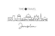 Single Continuous Line Drawing Of Jerusalem Skyline, Palestine. Famous City Scraper Landscape. World Travel Concept Home Decor Wall Art Poster Print. Modern One Line Draw Design Vector Illustration