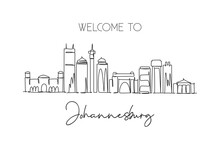 One Continuous Line Drawing Of Johannesburg City Skyline, South Africa. Beautiful Landmark Wall Decor Poster Print. World Landscape Tourism Travel. Stylish Single Line Draw Design Vector Illustration