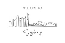 One Continuous Line Drawing Of Sydney City Skyline, Australia. Beautiful Landmark. World Landscape Tourism Travel Vacation Poster. Editable Stylish Stroke Single Line Draw Design Vector Illustration