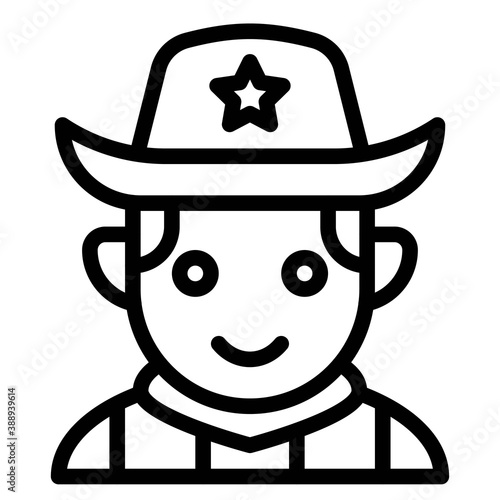 Tela Cowboy avatar, Halloween costume vector icon