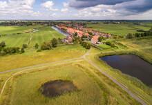 Aerial View Of Village Broek In Waterland With Volgermeerpolder, Netherlands