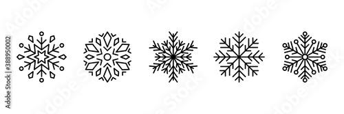 Obraz set of snowflake thin line icons, christmas snowy - fototapety do salonu