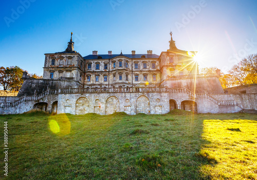 Ukranian old palace castle Pidhirtsi. Location place Pidhirtsi village, Lviv region, Ukraine, Europe.