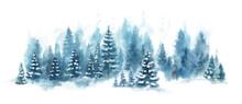 Watercolor Blue Winter Landsca...