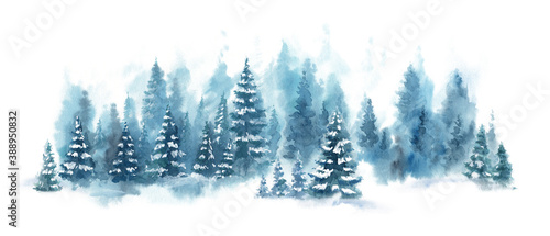 Obraz Watercolor Blue winter landscape of foggy forest hill. Wild nature, frozen, misty, taiga. Horizontal watercolor background. Evergreen coniferous trees. - fototapety do salonu