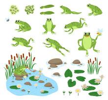Set Of Cartoon Hungry Frog Sad...