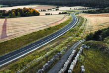 Aerial View Of Road Winding Th...