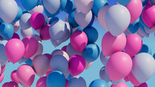 Colorful Balloons Rising Into ...