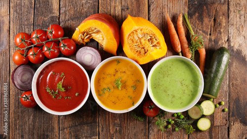 Canvastavla assorted of colored vegetable soup- tomato, pumpkin and zucchini soup