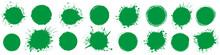 Set Of Green Round Brush Paint...