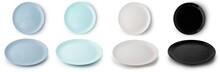 Set Of Flat Empty Plates Of Di...