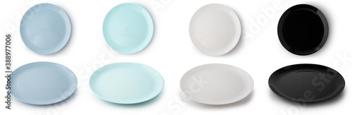Set of flat empty plates of different colors isolated on white background. Top and side view.