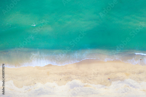Obraz Top view aerial image from drone of an stunning beautiful sea landscape beach with turquoise water in Phuket, Thailand - fototapety do salonu