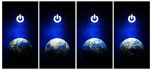 Earth Hour, Ecology And Environment Concept : Set Of Blue Earth In The Space With Electric Power Button For Earth Hour Event. (Elements Of This Image Furnished By NASA.)