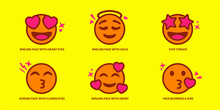 Set Of Cute Smiling Emoticons