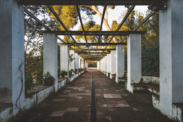 Panel Szklany Architektura Symmetrical view of the pergola of a romantic style garden