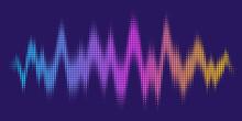 Abstract Sound Wave. Voice Digital Waveform, Volume Voice Technology Vibrant Wave. Music Sound Energy Vector Background. Equalizer Volume, Waveform Electronic Light Illustration