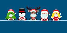 Banner Baum Schneemann Rentier Weihnachtsmann Und Engel Maske Dunkelblau
