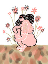 Pink Woman Posing With Flowers
