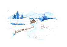 Winter Landscape With A Rural Landscape. Watercolor Illustration. Christmas Card.
