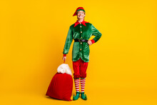 Full Length Body Size View Of His He Nice Attractive Cheerful Cheery Funny Guy Elf Holding In Hand Sack Gifts Delivery Festal Fairy Isolated Over Bright Vivid Shine Vibrant Yellow Color Background