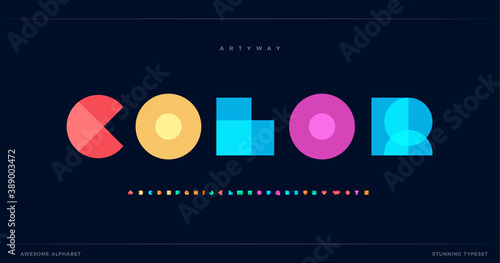 Fototapeta Overlay colorful alphabet. Color overlap, decorative font, geometric type for modern color logo, abstract headline, art lettering and maxi typographic. Minimal style letter, vector typography design obraz