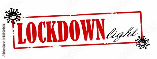 Obraz na plátne CORONAVIRUS / CORONA - Roter zerkratzen Stempel, mit der Aufschrift: LOCKDOWN L