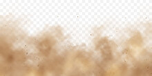 Realistic Dust Clouds. Sand Storm. Polluted Dirty Brown Air, Smog. Vector Illustration.