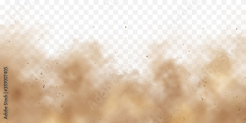 Fototapeta Realistic dust clouds. Sand storm. Polluted dirty brown air, smog. Vector illustration. obraz